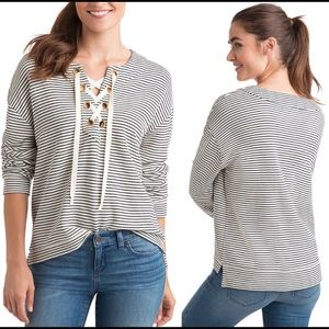 Vineyard Vines Striped Bateau Lace Up Pullover Top